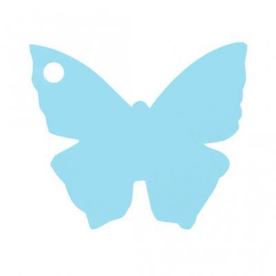 Étiquette papillon bleu ciel (x10) REF/2988