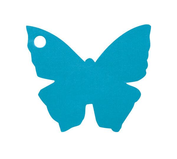 Etiquette papillon bleu turquoise