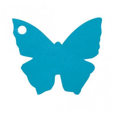 Étiquette papillon bleu turquoise (x10) REF/2988