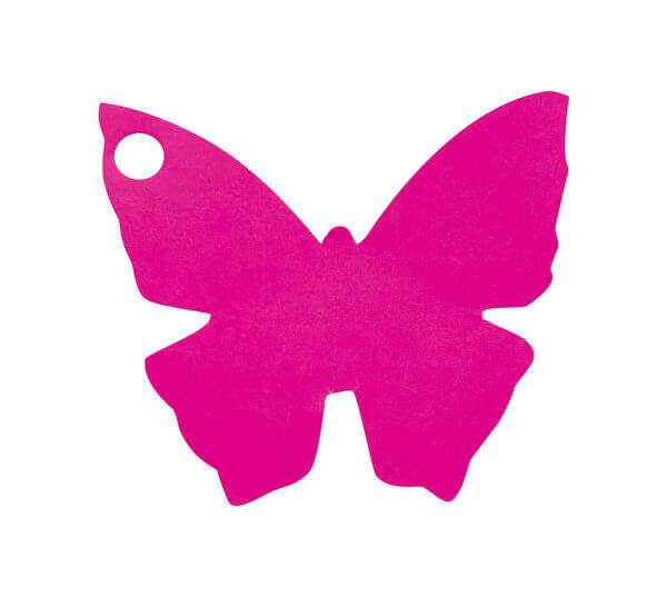 Etiquette papillon fuchsia