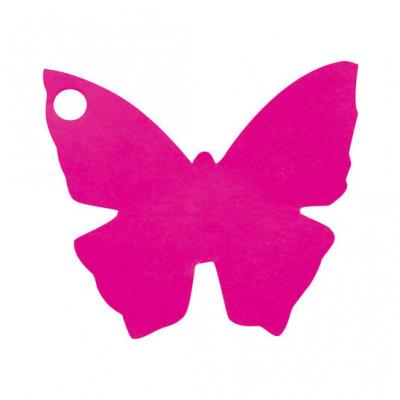 Étiquette papillon fuchsia (x10) REF/2988