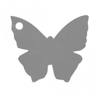 Étiquette papillon grise (x10) REF/2988
