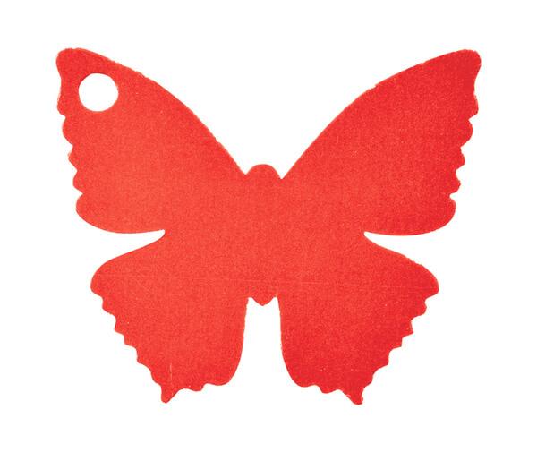 Etiquette papillon rouge