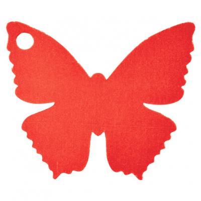Étiquette papillon rouge (x10) REF/2988