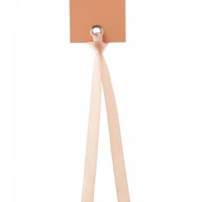 Étiquette rectangle corail avec ruban (x12) REF/3312