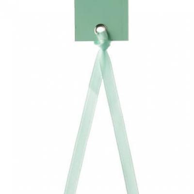 Étiquette rectangle mint avec ruban (x12) REF/3312