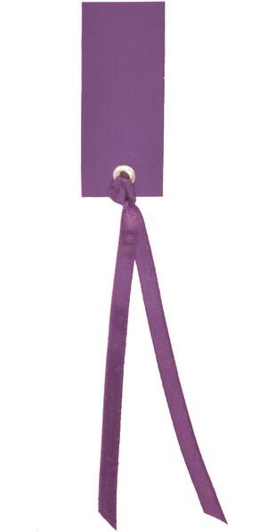 Etiquette rectangle prune avec ruban