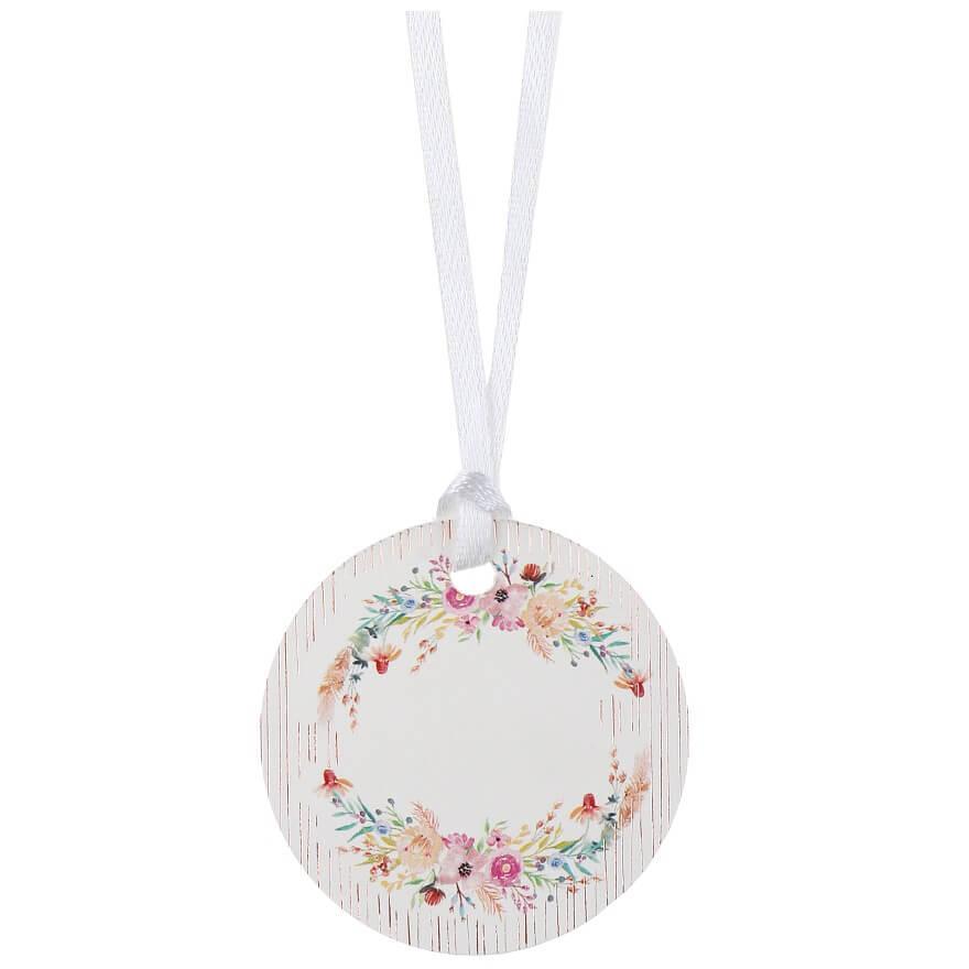 Etiquette ronde decoration fleur et ruban satin