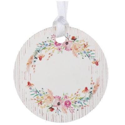 Étiquette ronde avec décoration florale et son ruban satin (x6) REF/7387