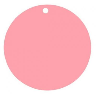 Étiquette ronde rose avec perforation pour votre confection (x10) REF/3352