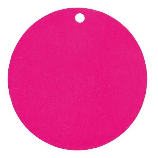Etiquette ronde rose fuchsia avec perforation