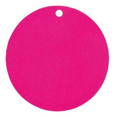 Étiquette ronde rose fuchsia avec perforation pour votre confection (x10) REF/3352