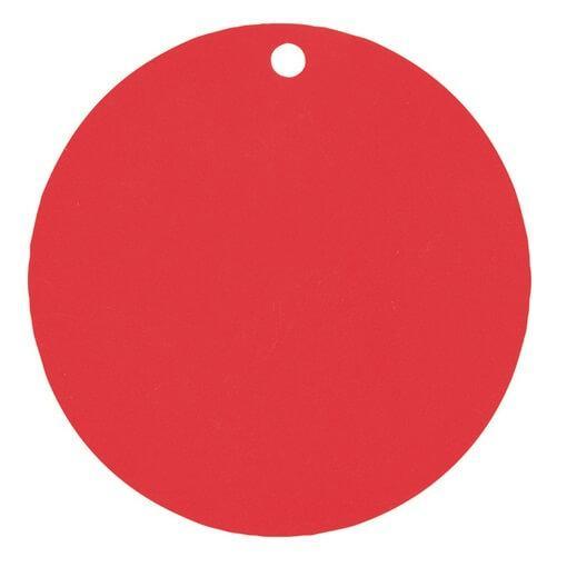Etiquette ronde rouge avec perforation