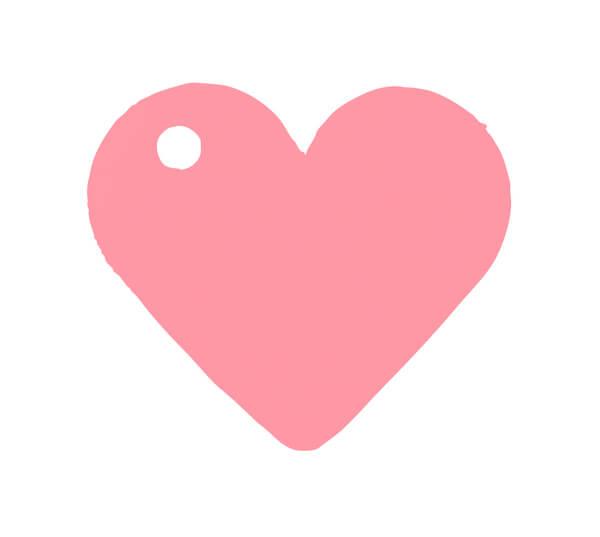 Etiquette rose coeur