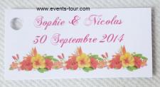 Étiquette à dragées fleur tropical (x10) REF/10141