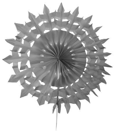 Eventail dentelle 20cm gris