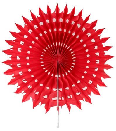 Eventail dentelle 20cm rouge