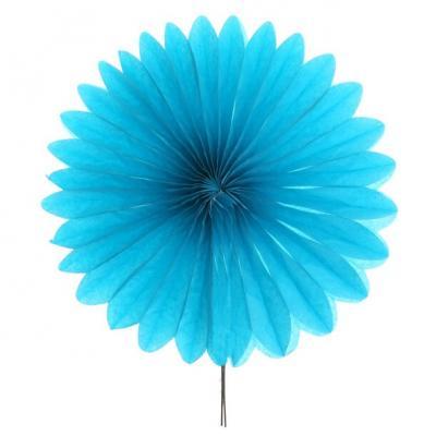 Éventail en papier bleu turquoise 40cm (x1) REF/4843