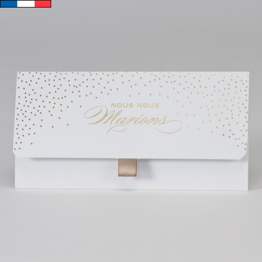 Faire part mariage blanc et or metallise avec confettis