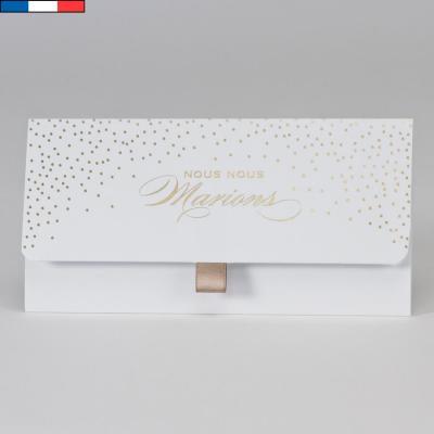 Faire-part mariage blanc et confettis or métallisé (x1) REF/108.077