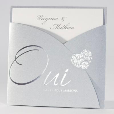 Faire-part mariage coeurs: Argent (x1) REF/112.013