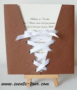 Faire part mariage corset chocolat 2