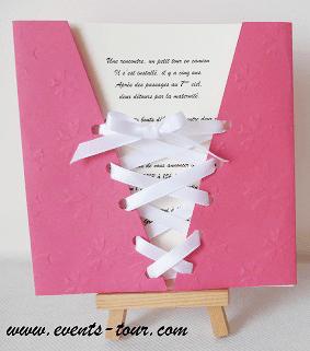 Faire part mariage corset fuchsia 2