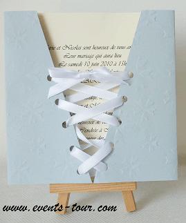 Faire part mariage corset gris perle 2