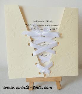 Faire part mariage corset ivoire 2