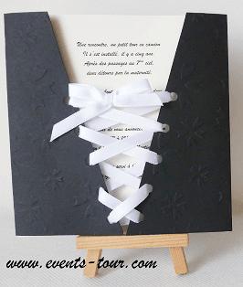 Faire part mariage corset noir 2