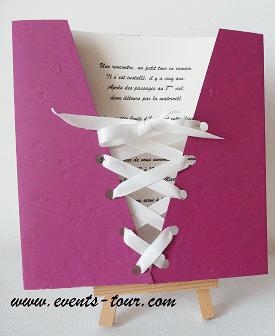 Faire part mariage corset prune
