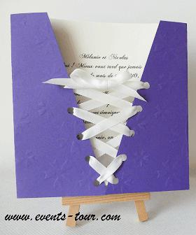 Faire part mariage corset violet fonce