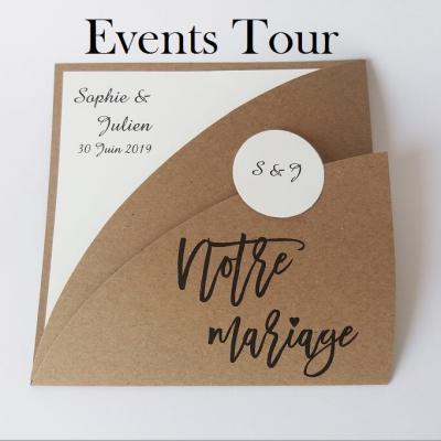 Faire-part mariage kraft marron (x1) REF/108.002