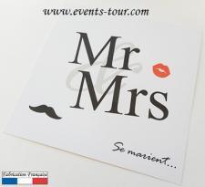 Faire-part mariage: Mr et Mrs (x1) REF/10406