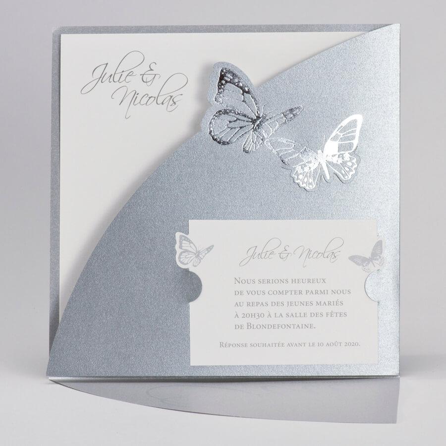 Faire part mariage papillon argent 1