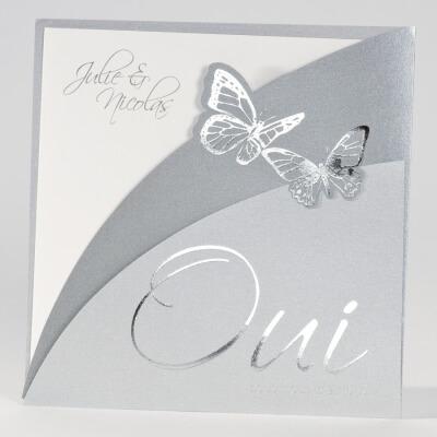 Faire-part mariage papillon: Silène argent (x1) REF/102.059