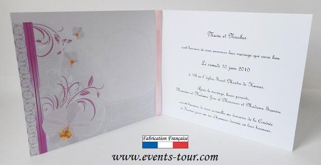faire part mariage orchide x1 ref10409 - Faire Part Mariage Orchide