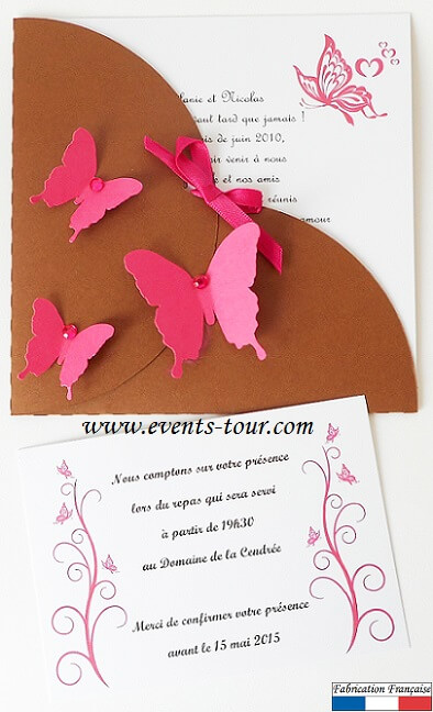 Faire part papillon chocolat rose