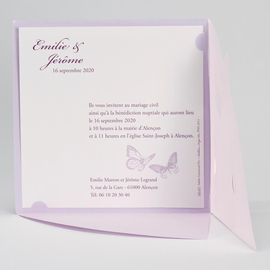 Favori Faire-part mariage papillon: Silène parme (x1) REF/102.057 IM61