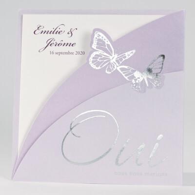 Faire-part mariage papillon: Silène parme (x1) REF/102.057