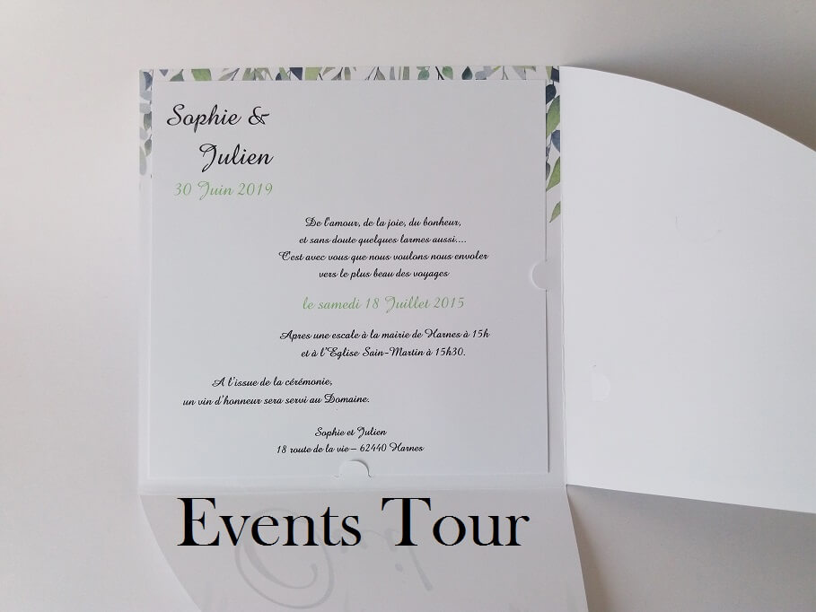 Faire part vert floral mariage
