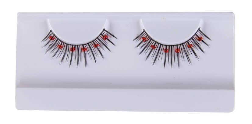 Faux cils noirs perles rouges