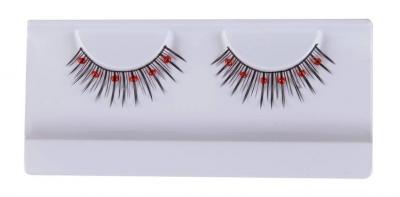 Faux cils noirs avec perles rouges (x1) REF/16503