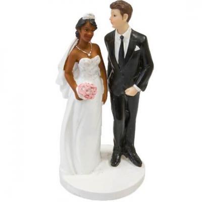 Figurine couple de mariés mixte pour mariage (x1) REF/SUJ4983
