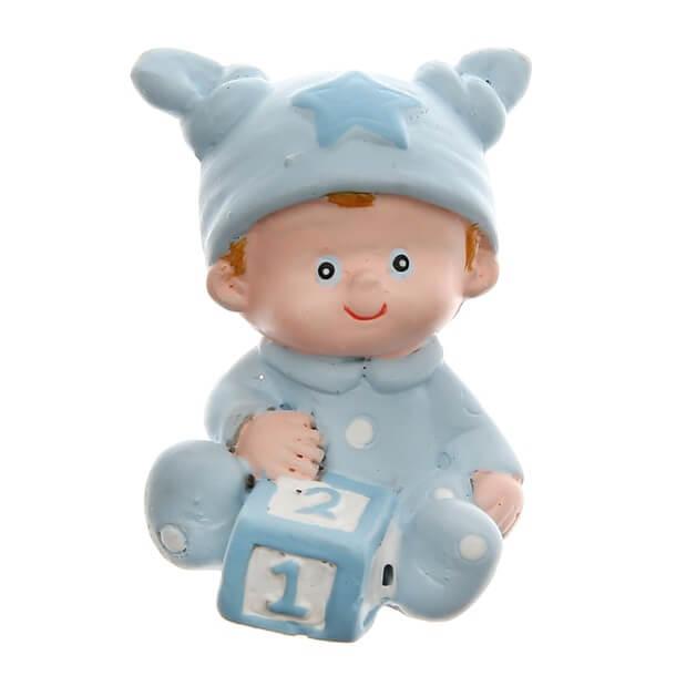 Figurine bapteme bleu ciel