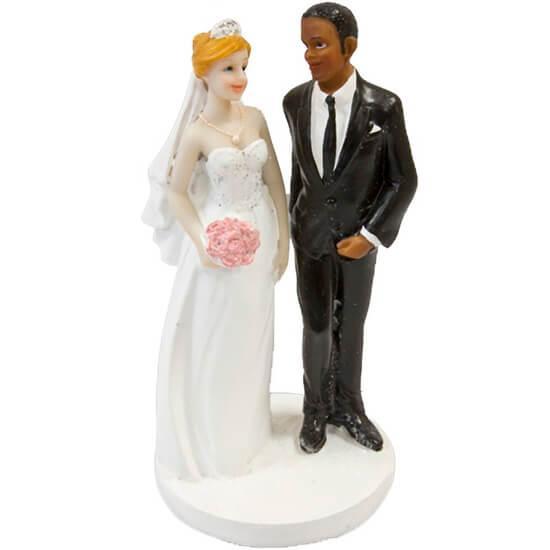 Figurine gateau de mariage couple de maries mixte