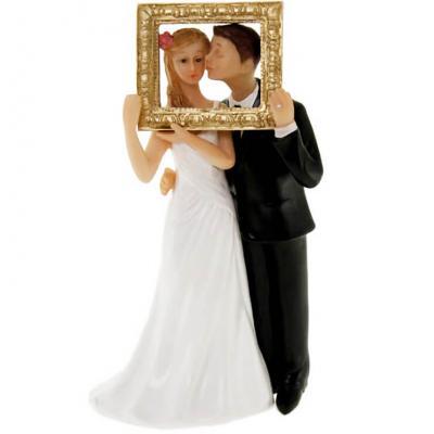 Figurine mariage: Couple de mariés avec cadre (x1) REF/SUJ4952