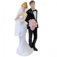 Figurine de mariage couple de mariés romantique avec bouquet de fleurs (x1) REF/SUJ4965