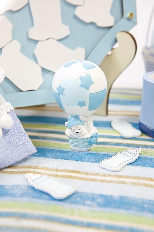Figurine ourson resine bleu ciel montgolfiere dragee