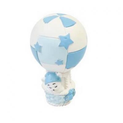 Figurine ourson en montgolfière bleu ciel et blanc en résine (x1) REF/RES403CG